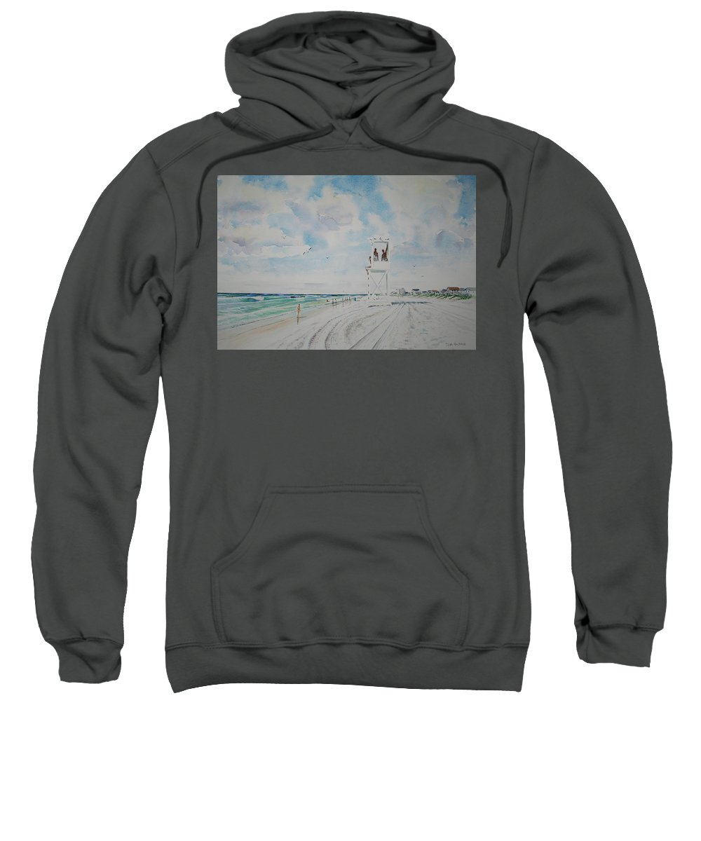 Ocean Sweatshirt featuring the painting Waiting For The Lifeguard by Tom Harris