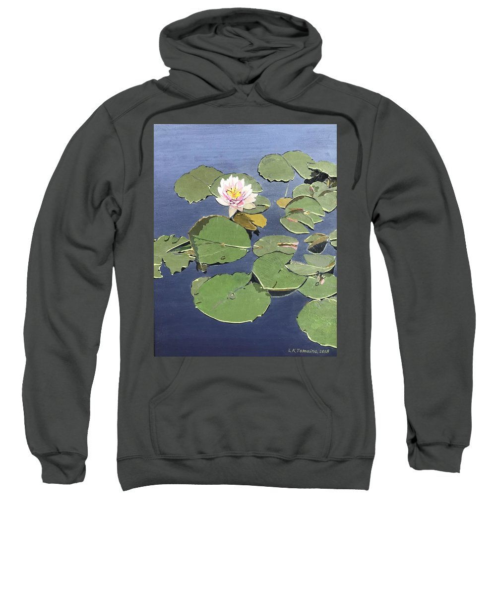 Recycled Sweatshirt featuring the painting Waiting Lotus by Leah Tomaino