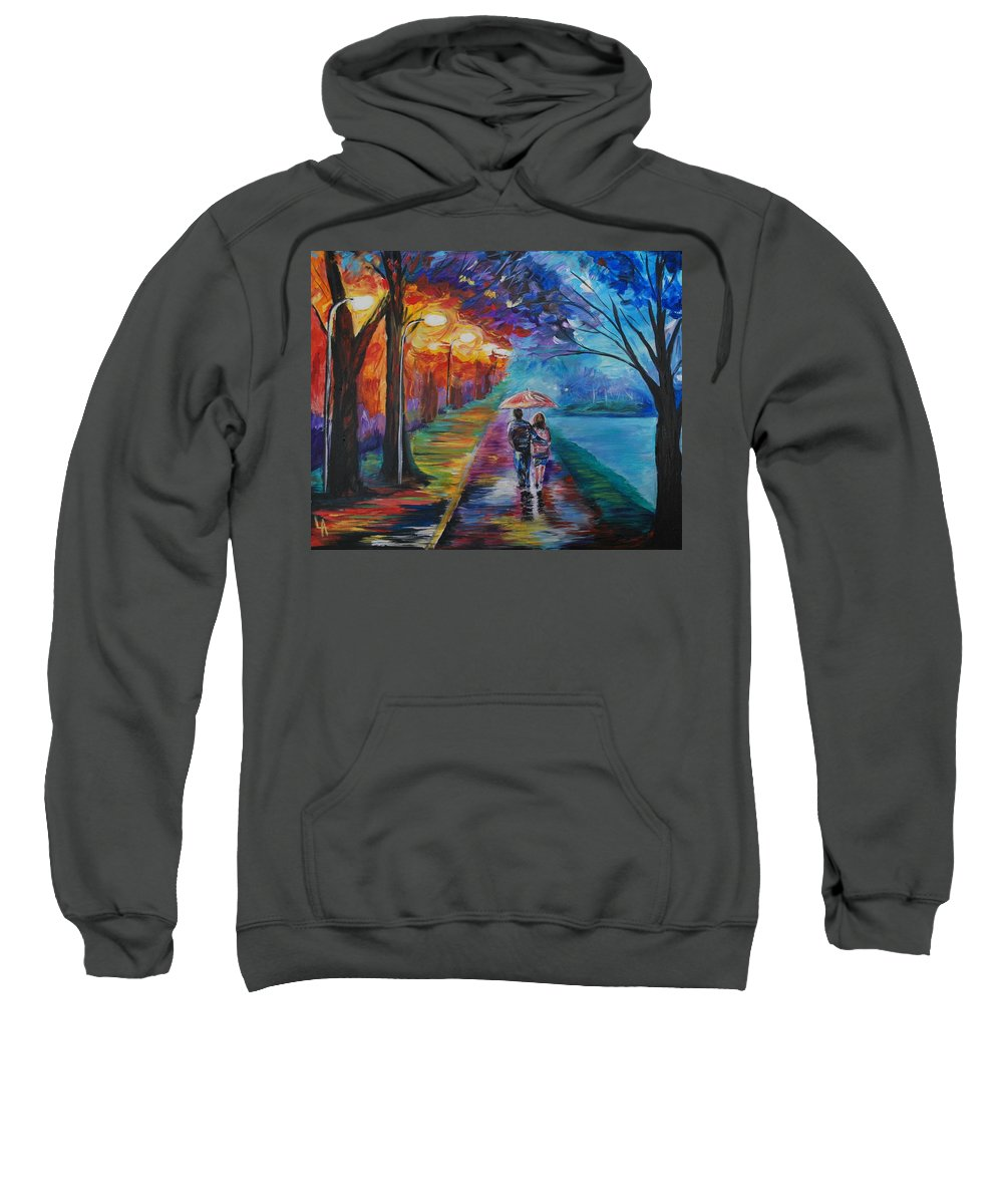 Couple Painting Sweatshirt featuring the painting Walk By The Lake Series 1 by Leslie Allen
