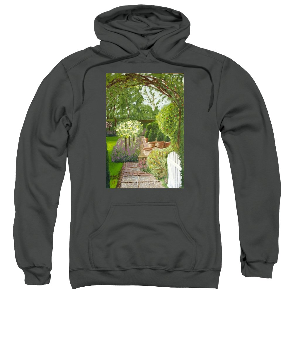 Garden Sweatshirt featuring the painting Walk With Me by Laurie Morgan
