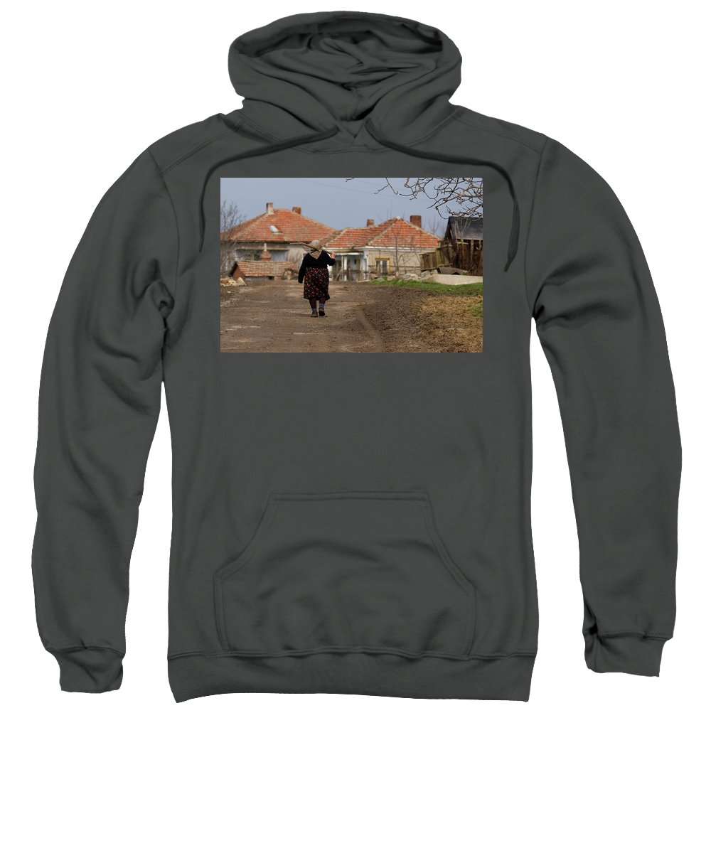 Walking Home After A Days Work In The Fields Sweatshirt featuring the photograph Walking Home by Cliff Norton