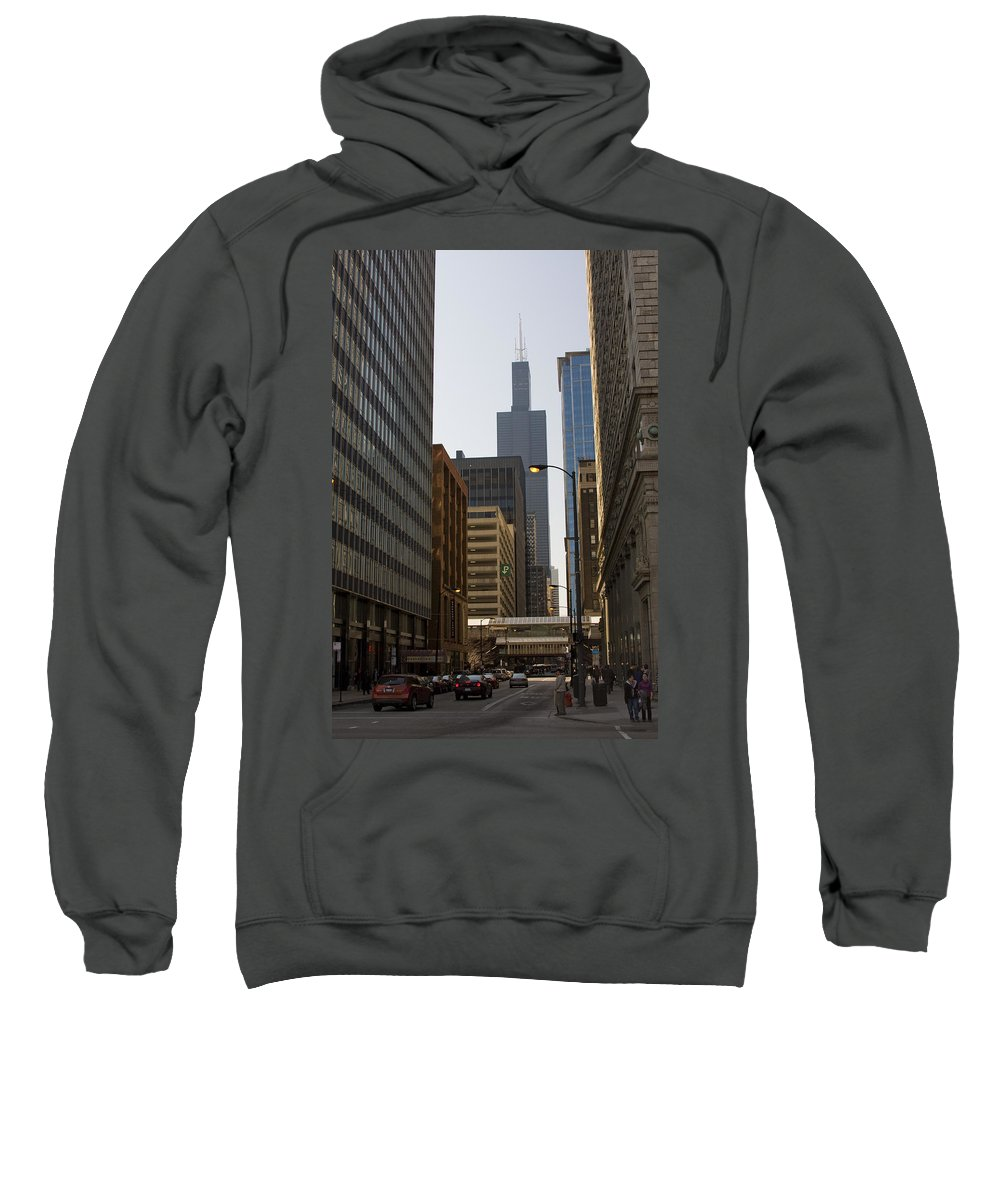 Chicago Windy City Street Trafic Car People Building Skyscraper High Tall Urban Metro Sweatshirt featuring the photograph Walking In Chicago by Andrei Shliakhau