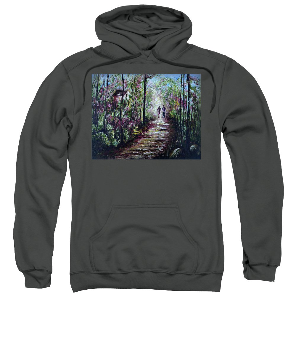 Landscape Sweatshirt featuring the painting Walking In The Light by Harsh Malik