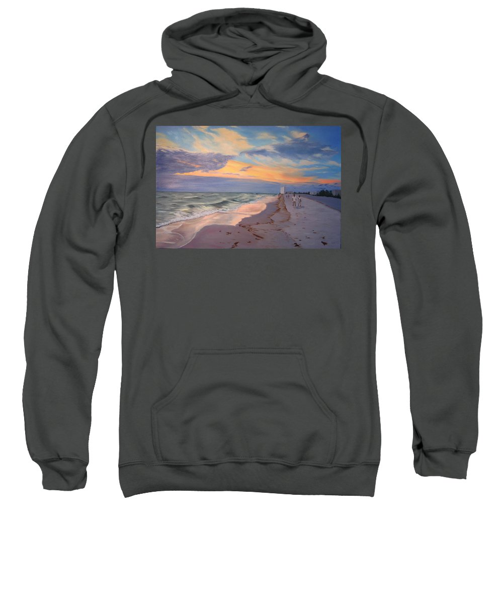 Seascape Sweatshirt featuring the painting Walking On The Beach At Sunset by Lea Novak