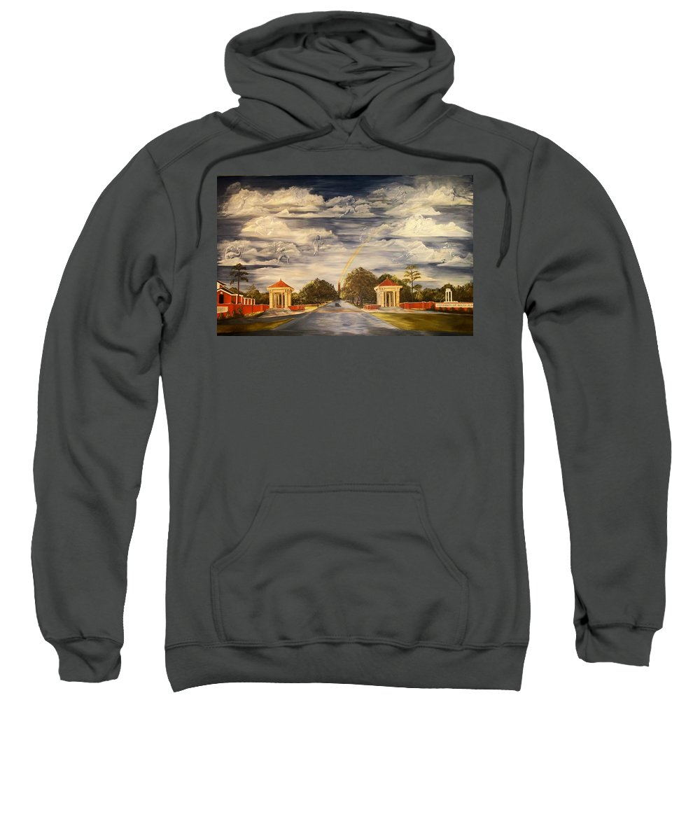 Mural University Of South Alabama Entrance School Dreams Clouds Rainbow Moulton Tower Clock Tower Sweatshirt featuring the painting Wall Mural At Usa Where Dreams Come True by Lynda McDonald
