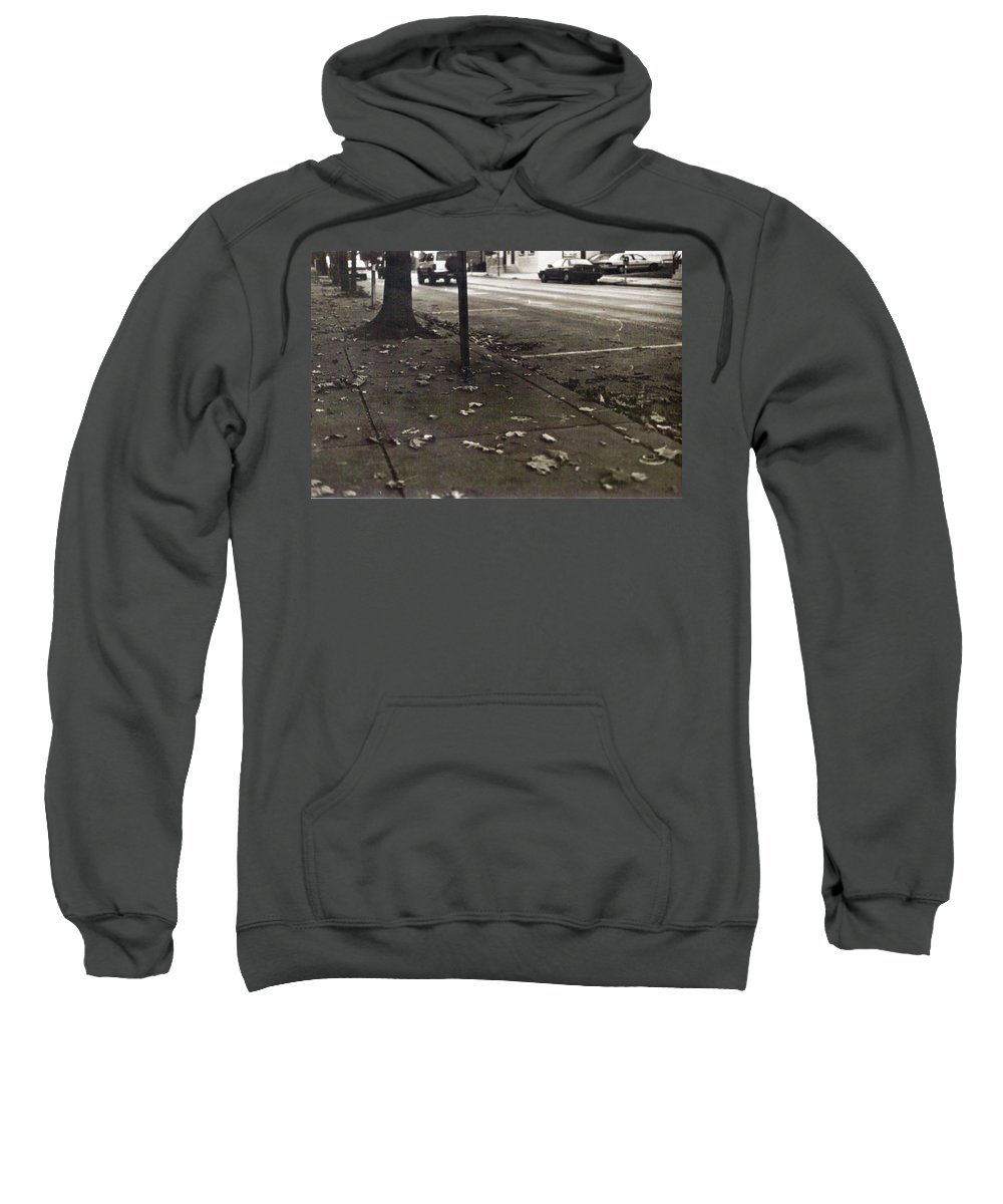 Black And White Photograph Sweatshirt featuring the photograph Walnut Street by Thomas Valentine