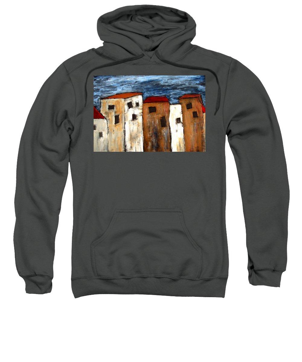 Acrylic Sweatshirt featuring the painting Warehouse Row by Wayne Potrafka