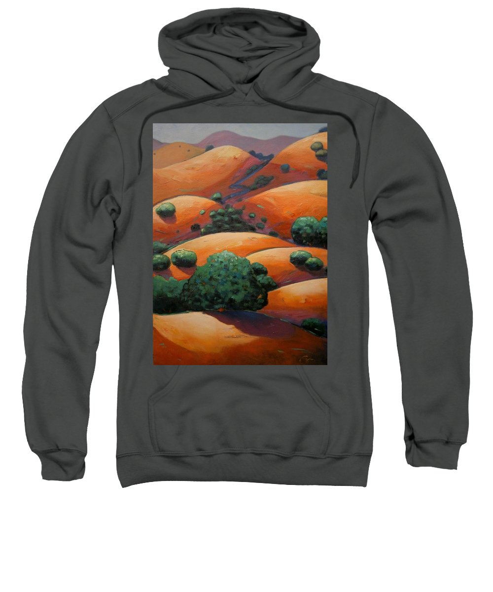 California Landscape Sweatshirt featuring the painting Warm Afternoon Light on CA Hillside by Gary Coleman