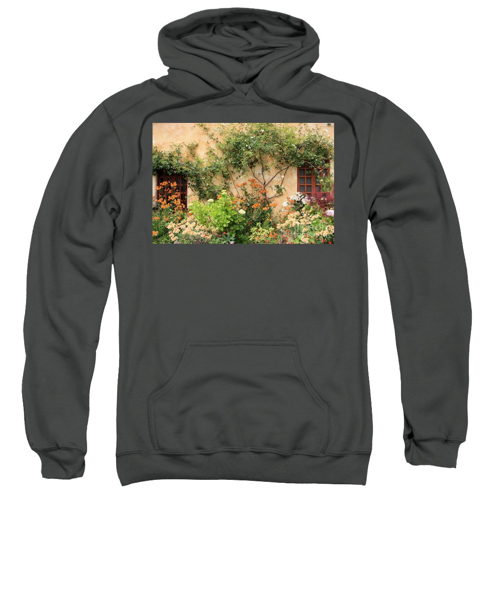 Carmel Mission Sweatshirt featuring the photograph Warm Colors In Mission Garden by Carol Groenen