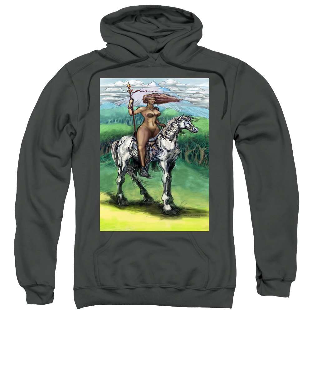 Warrior Sweatshirt featuring the painting Warrior Maiden by Kevin Middleton
