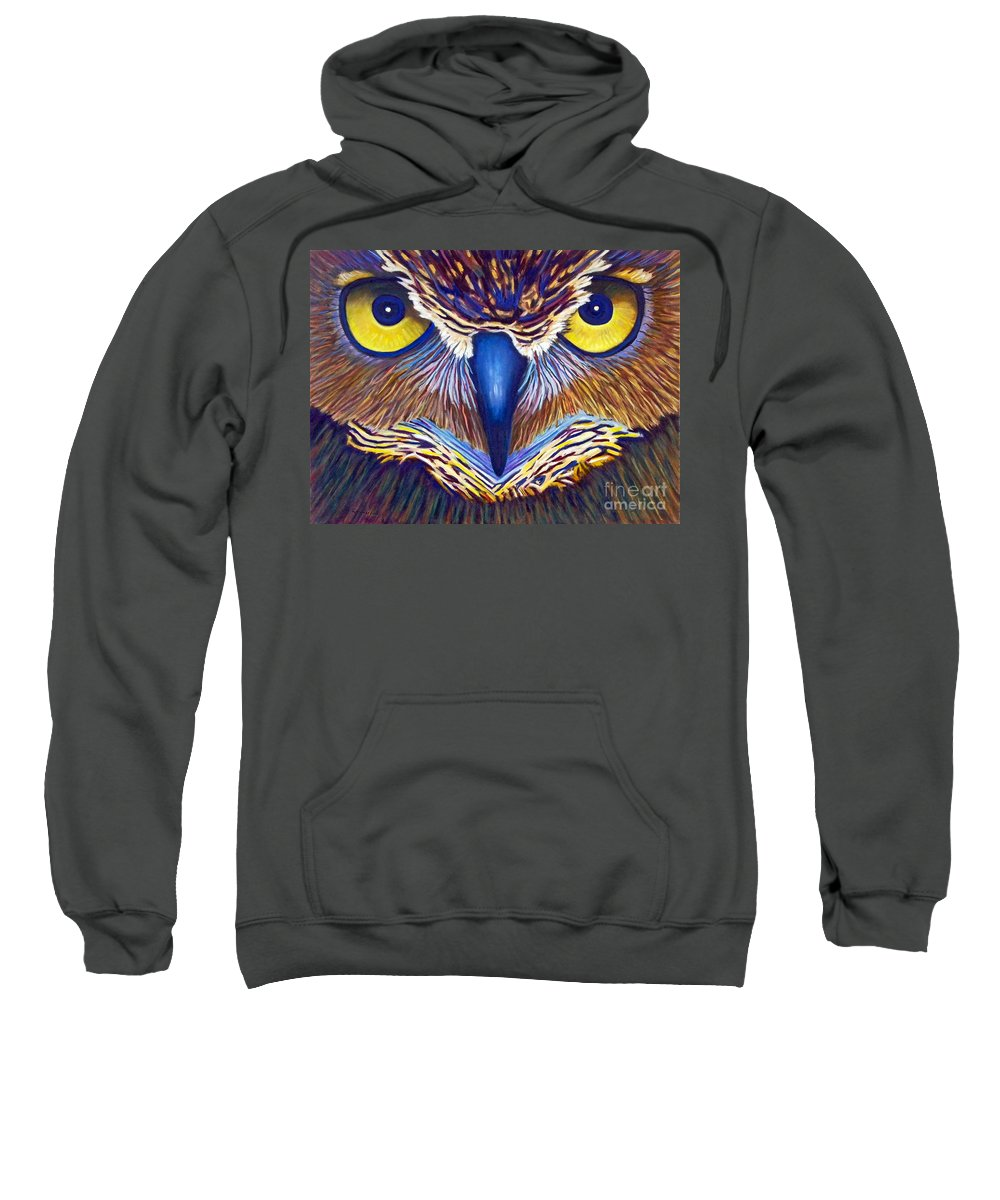 Owl Sweatshirt featuring the painting Watching by Brian Commerford