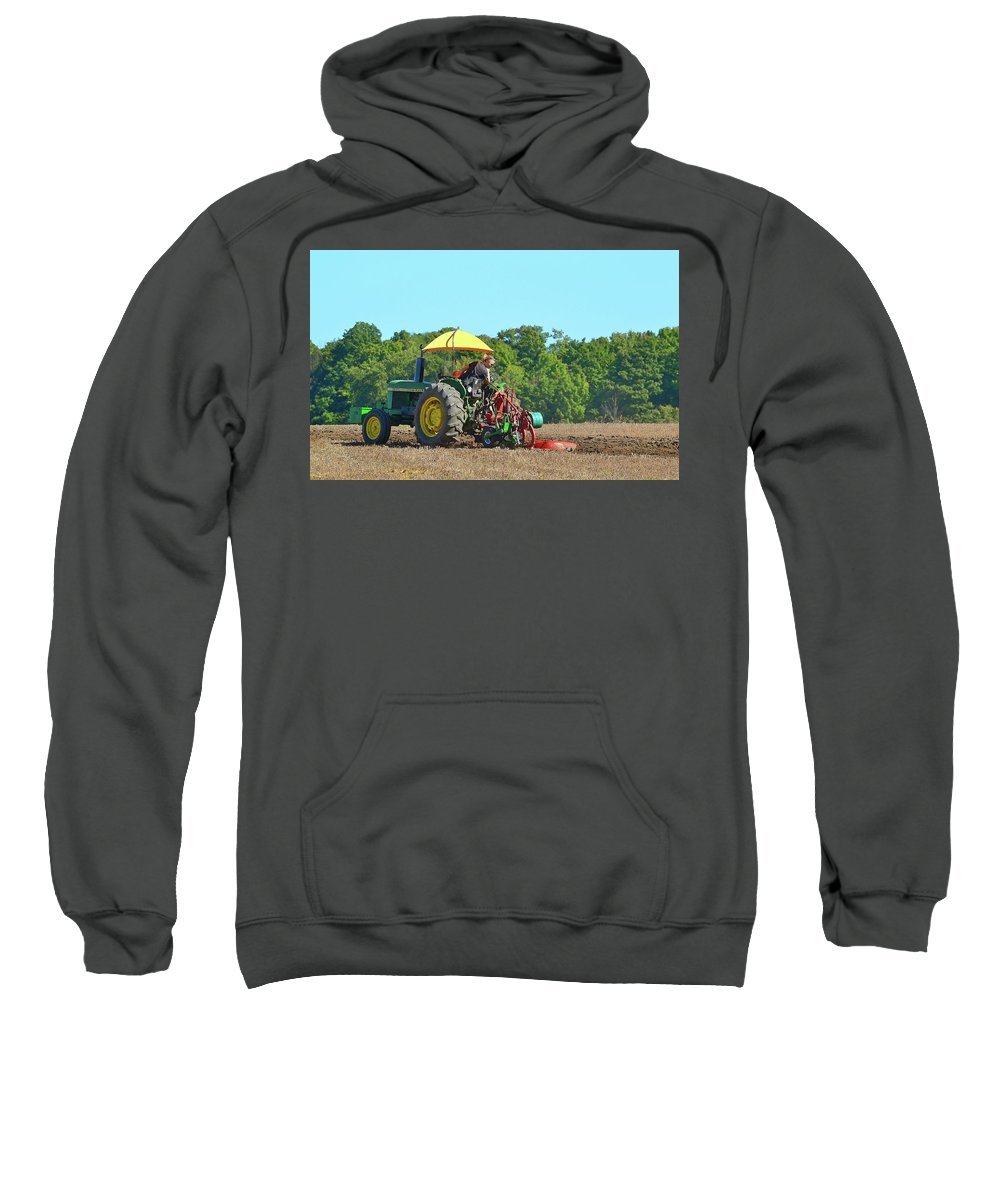 Farm Sweatshirt featuring the photograph Watching Her Plow Two by Lyle Crump
