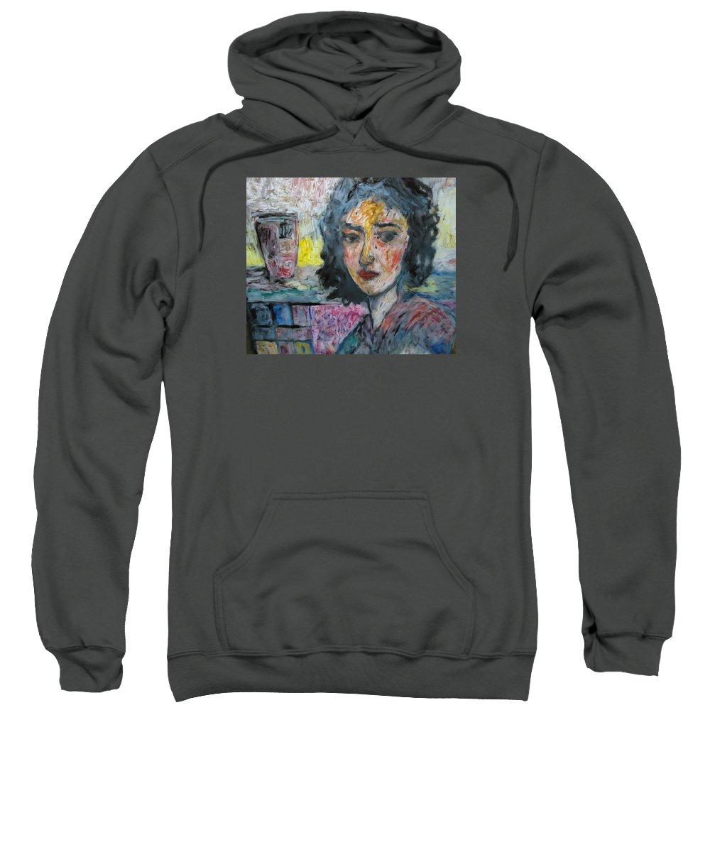 Glass Sweatshirt featuring the painting Watching Illuminated by Mykul Anjelo