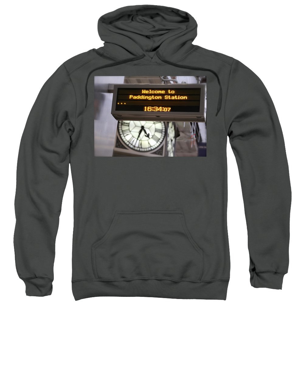 Paddington Station Sweatshirt featuring the photograph Watching Time At The Station by Caroline Reyes-Loughrey
