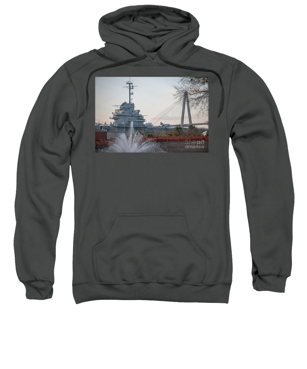 Arthur Ravenel Jr. Bridge Sweatshirt featuring the photograph Water And Metal by Dale Powell