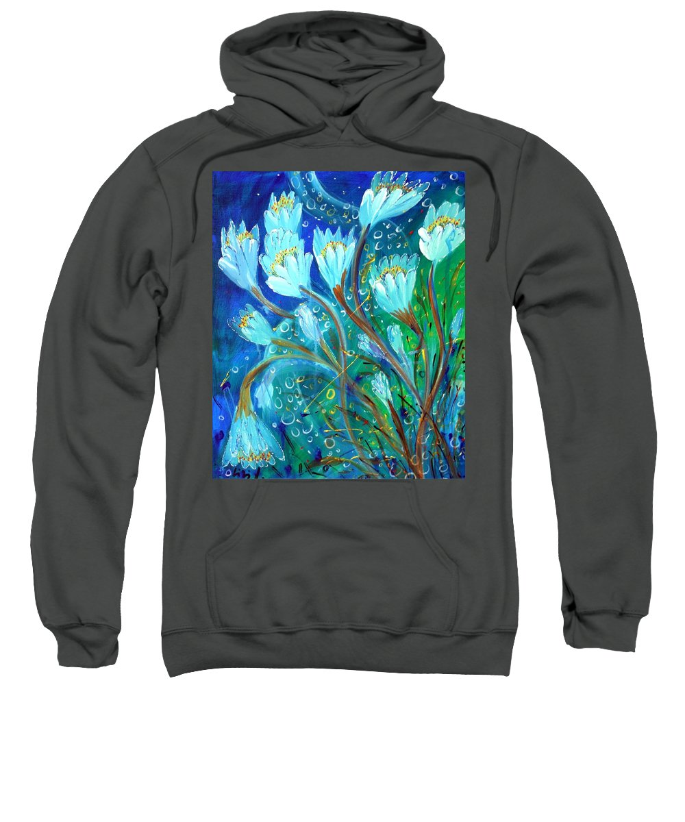 Flowers Sweatshirt featuring the painting Water Flowers by Luiza Vizoli