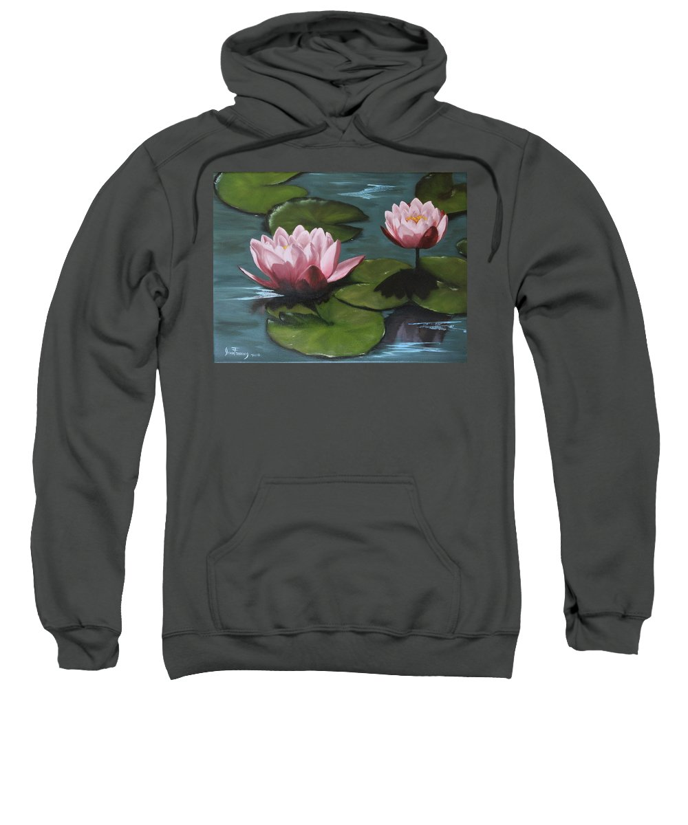 Landscape Sweatshirt featuring the painting Water Lilies by Irina Fanning
