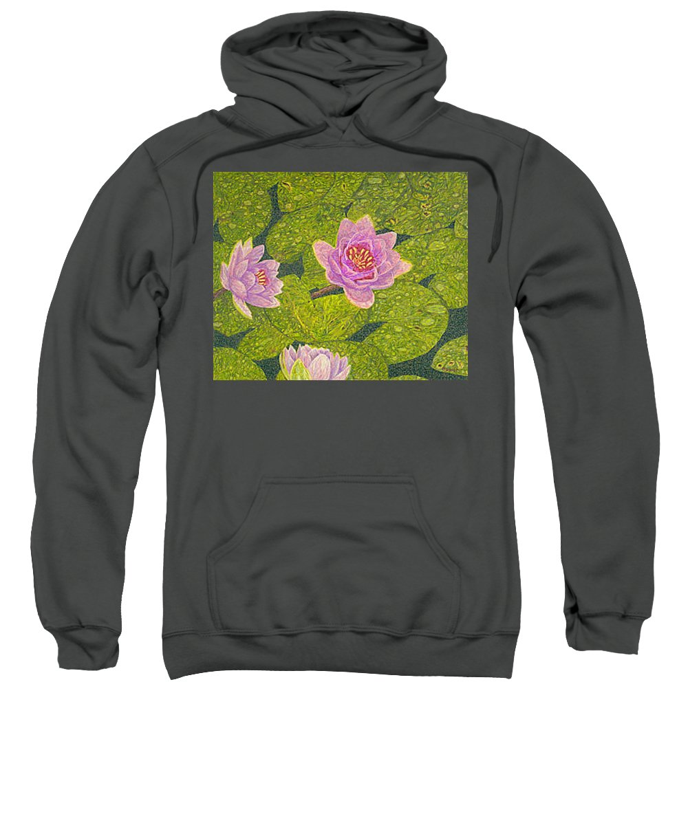 Water Lilies Sweatshirt featuring the drawing Water Lilies Lily Flowers Lotuses Fine Art Prints Contemporary Modern Art Garden Nature Botanical by Baslee Troutman
