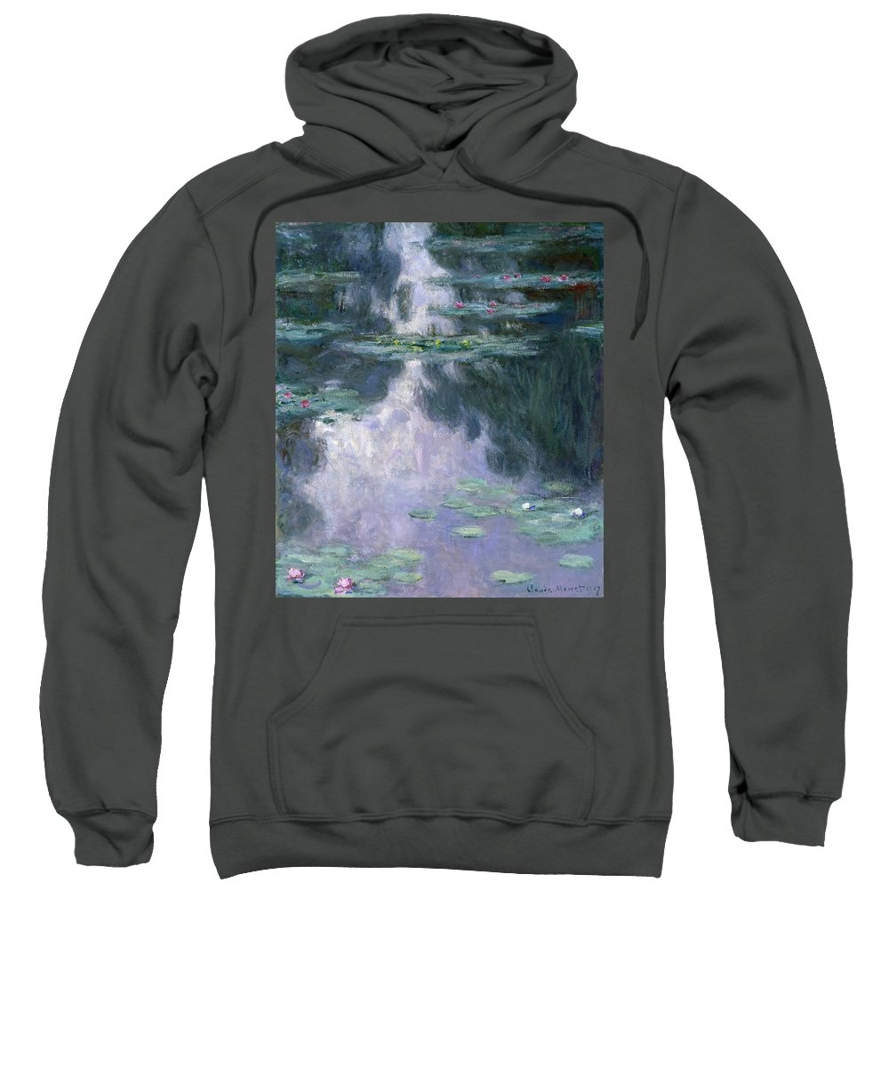 Water Lilies Sweatshirt featuring the painting Water Lilies, Nympheas, 1907 by Claude Monet