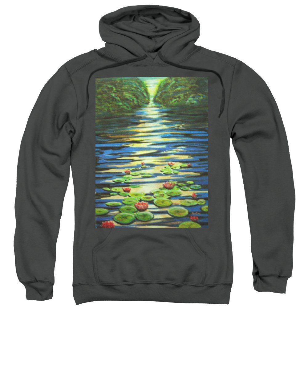 Dusk Sweatshirt featuring the painting Water Lillies At Dusk by Usha Shantharam