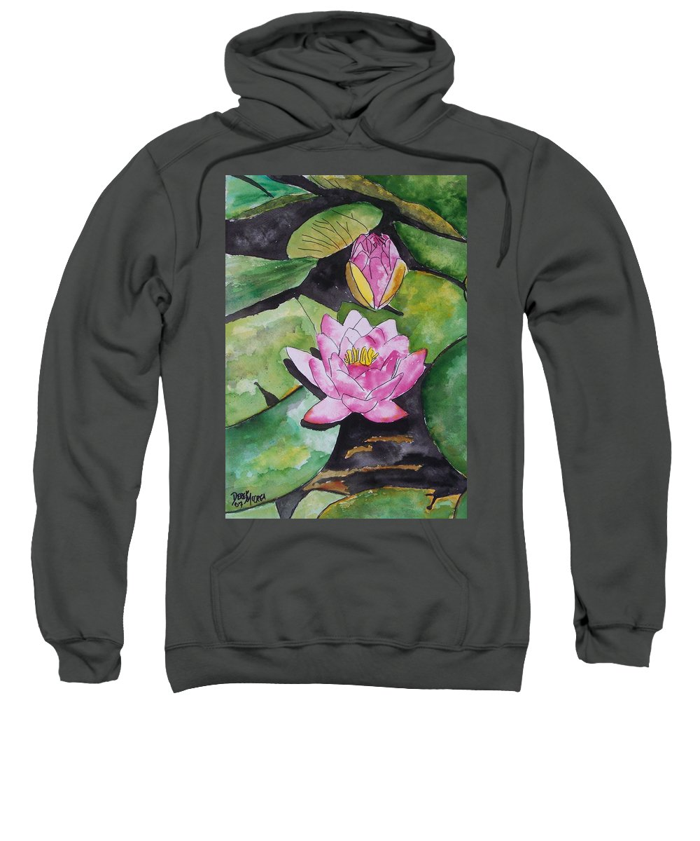 Water Lily Sweatshirt featuring the painting Water Lily by Derek Mccrea