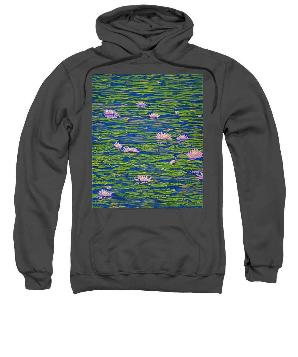 Lotuses Sweatshirt featuring the drawing Water Lily Flowers Happy Water Lilies Fine Art Prints Giclee High Quality Impressive Color Lotuses by Baslee Troutman