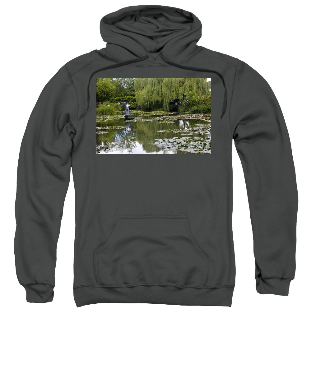 Monet Gardens Giverny France Water Lily Punt Boat Water Willows Sweatshirt featuring the photograph Water Lily Garden Of Monet In Giverny by Sheila Smart Fine Art Photography