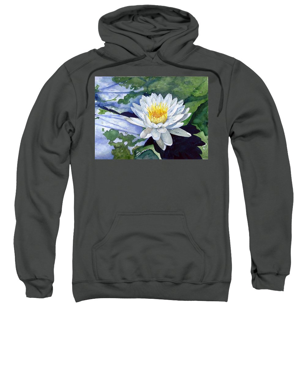 Flower Sweatshirt featuring the painting Water Lily by Sam Sidders