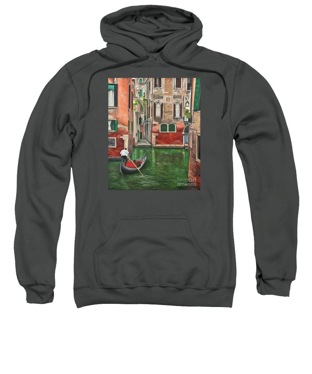 Venice Paintings Sweatshirt featuring the painting Water Taxi On Venice Side Canal by Charlotte Blanchard