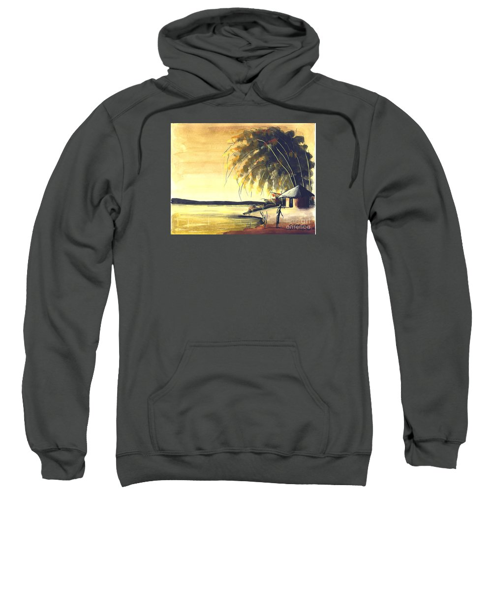 Africa Sweatshirt featuring the painting Watercolor 85 by Chrisfold Chayera
