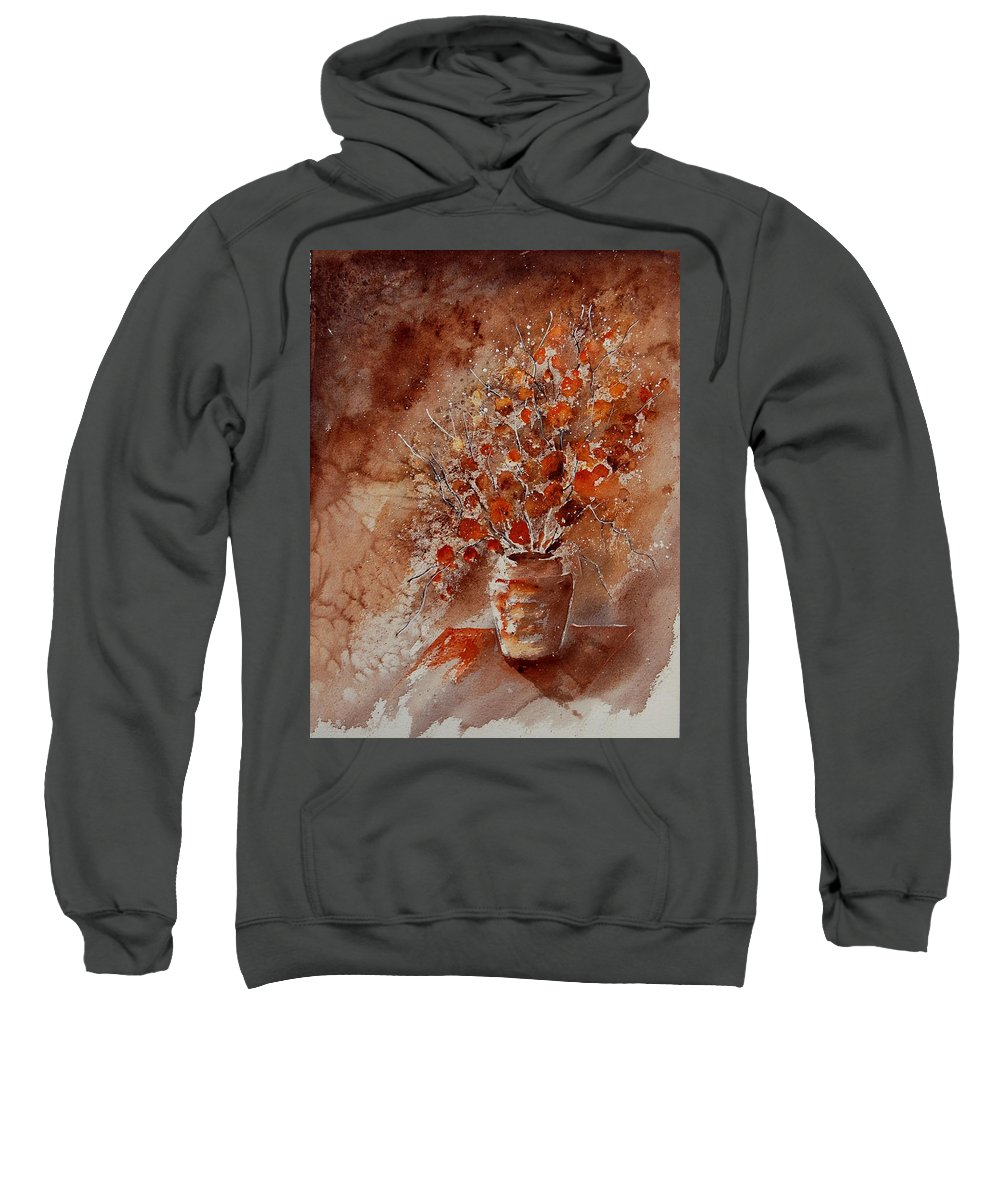 Poppies Sweatshirt featuring the painting Watercolor Autumn Bunch by Pol Ledent