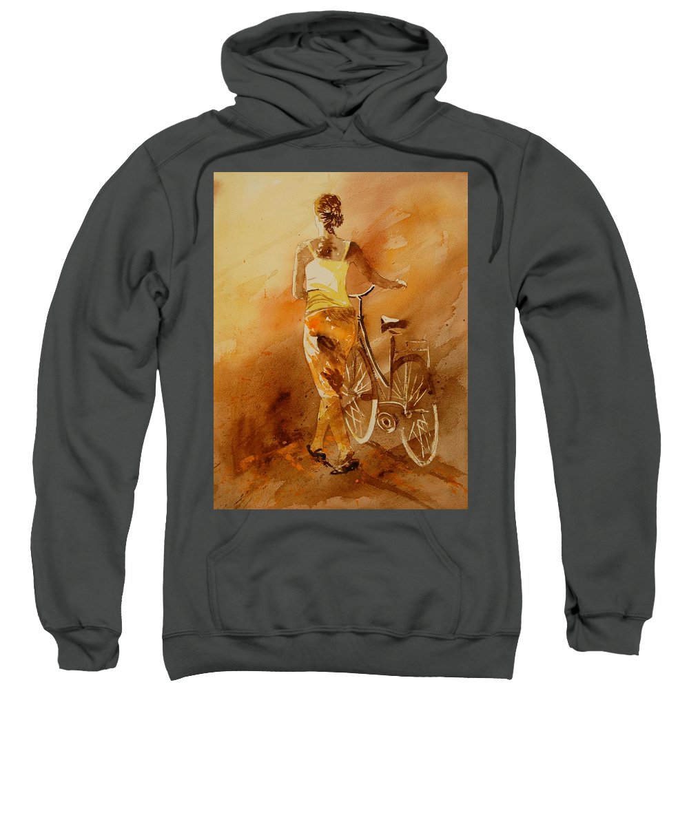 Figurative Sweatshirt featuring the painting Watercolor With My Bike by Pol Ledent