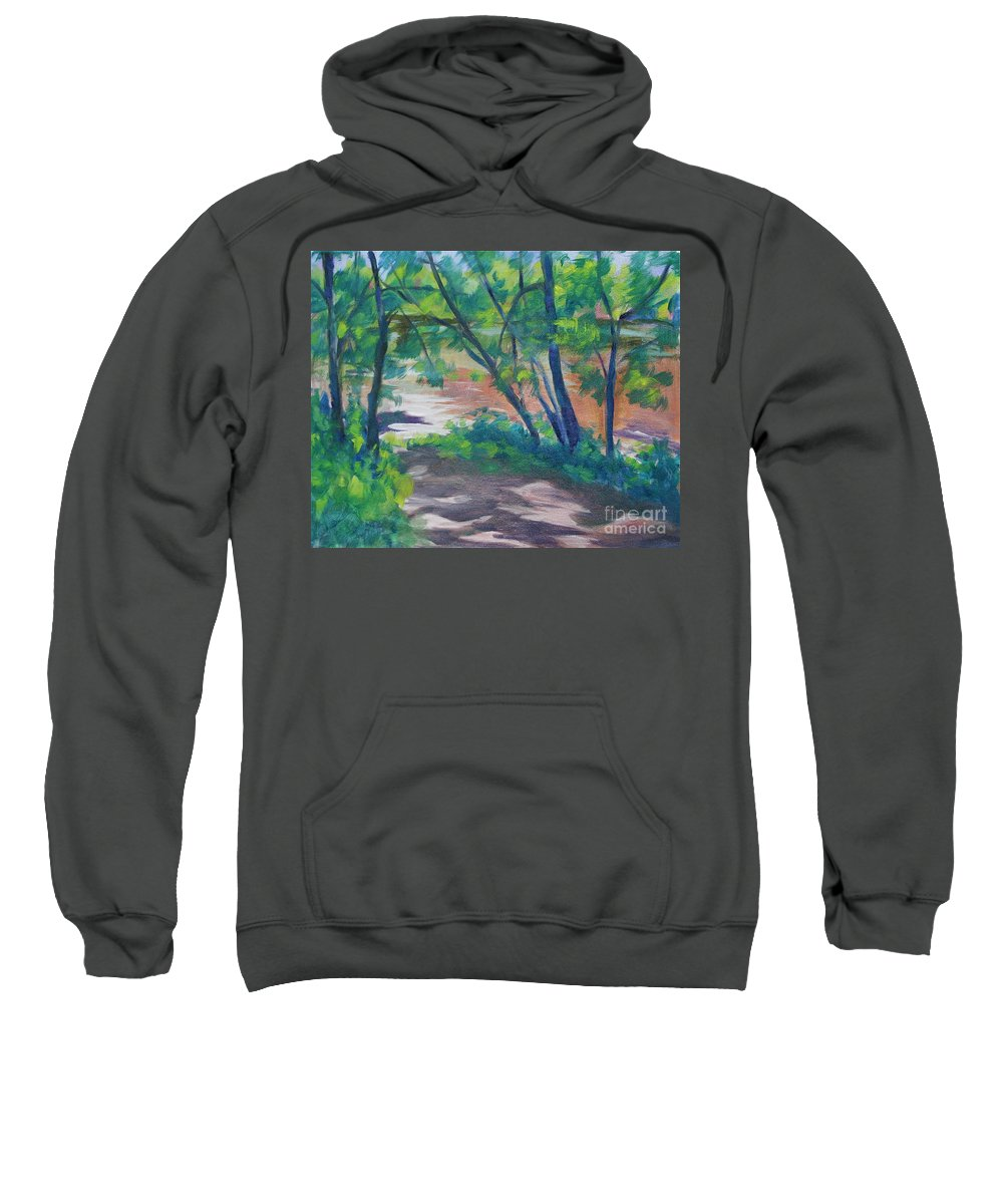 Landscape Sweatshirt featuring the painting Watercress Beach On The Current River  by Jan Bennicoff