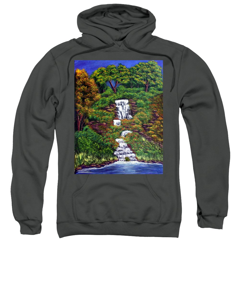 Waterfall Sweatshirt featuring the painting Waterfall by Dawn Blair