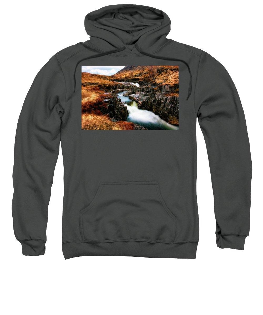 Waterfall Sweatshirt featuring the photograph Waterfall In Glencoe by Matt De Moraes