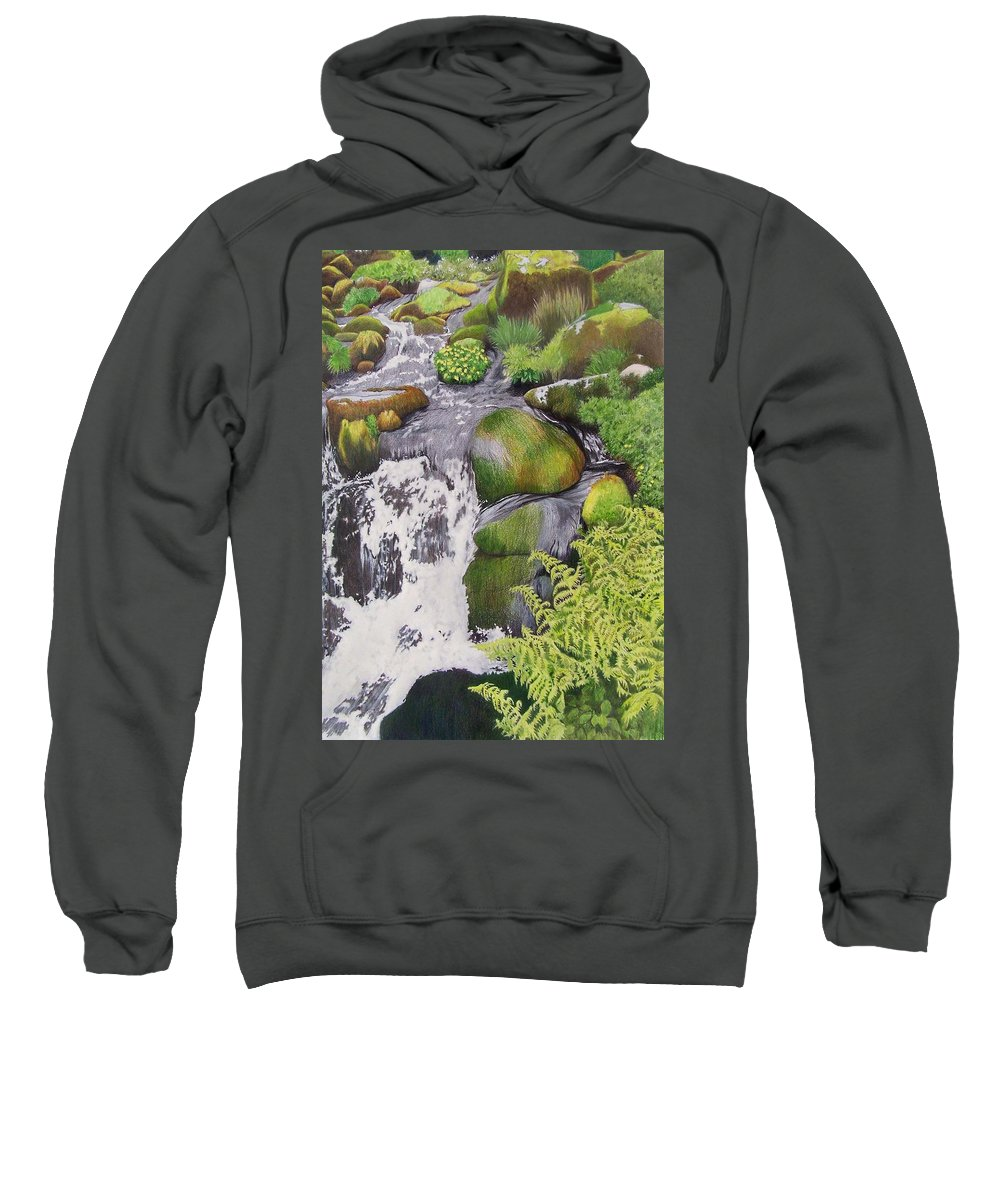 Waterfall Sweatshirt featuring the mixed media Waterfall On Skye by Constance Drescher