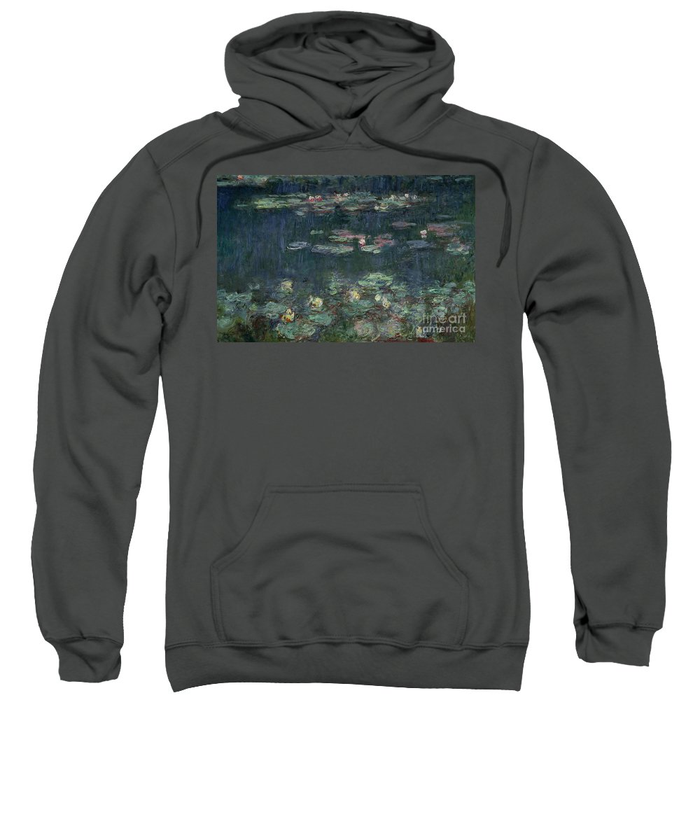 Monet Sweatshirt featuring the painting Waterlilies Green Reflections by Claude Monet