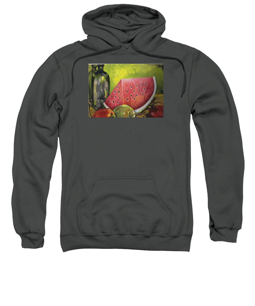 Watermelon Sweatshirt featuring the painting Watermelon by Robin Cordero