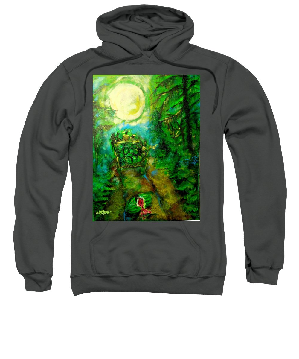 Watermelon Wagon Moon Sweatshirt featuring the painting Watermelon Wagon Moon by Seth Weaver