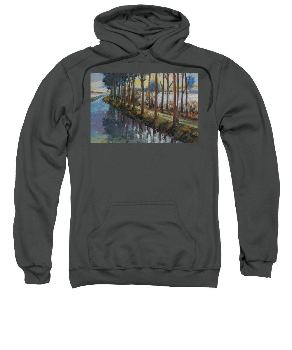 Trees Sweatshirt featuring the painting Waterway by Rick Nederlof