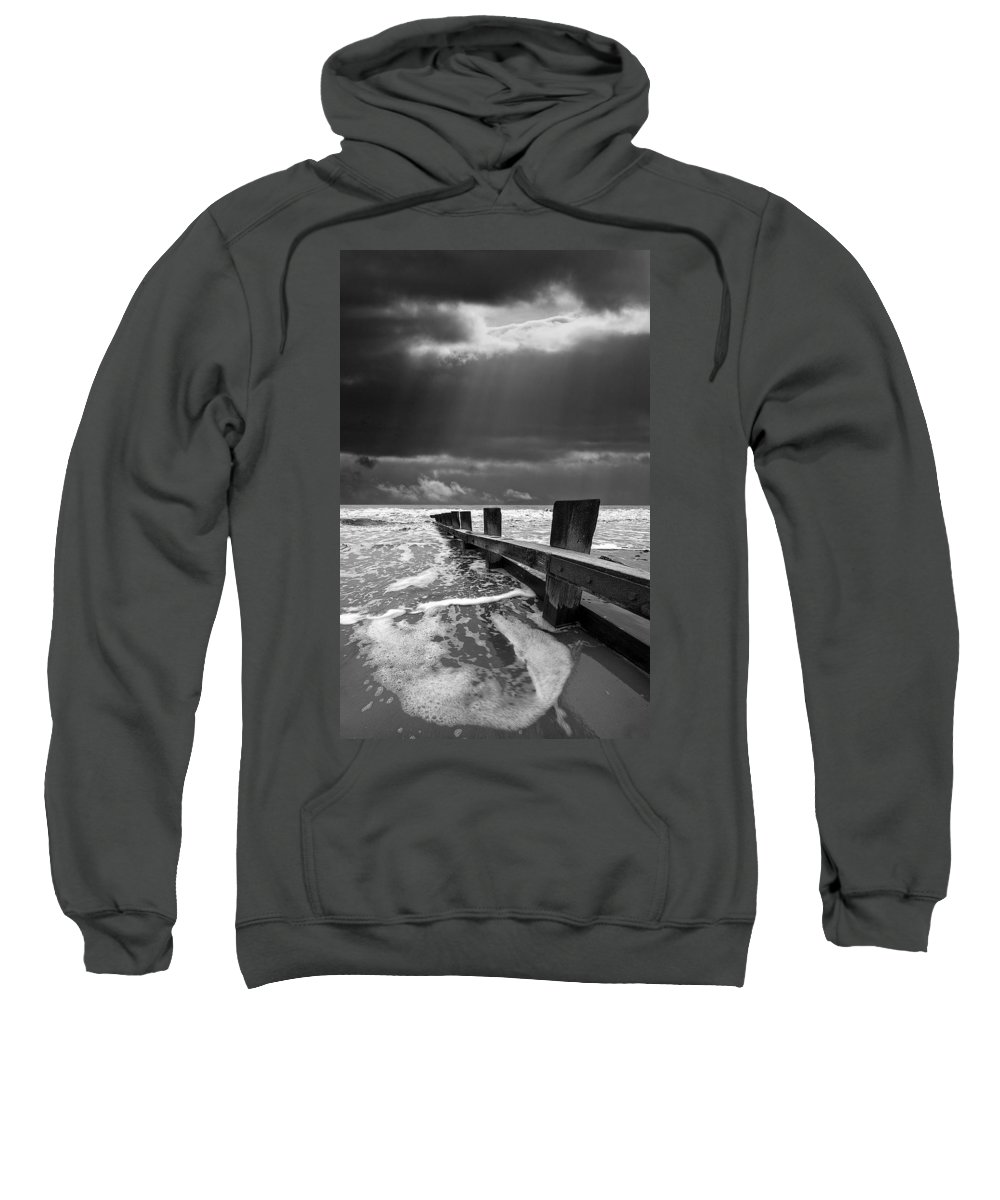 Groyne Sweatshirt featuring the photograph Wave Defenses by Meirion Matthias