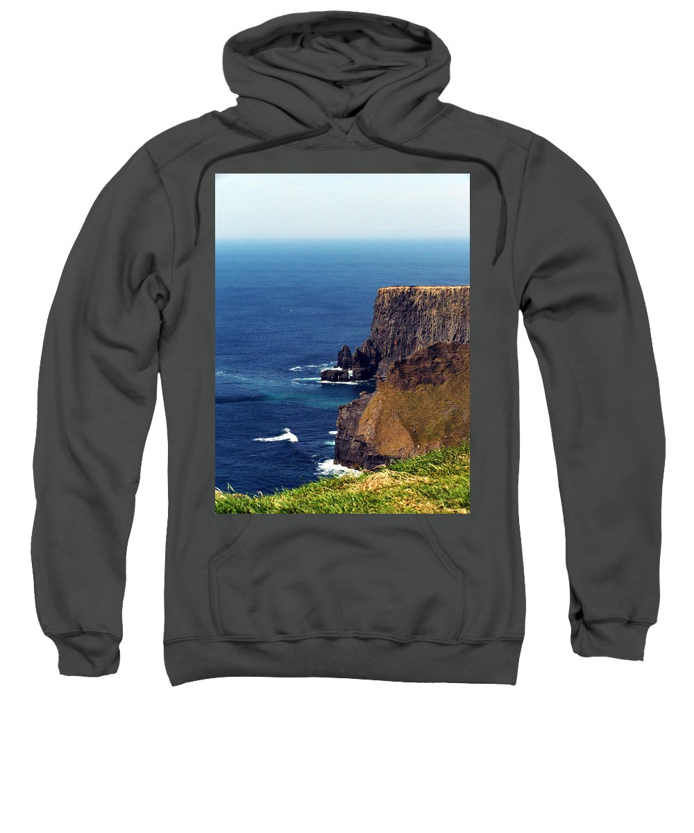 Irish Sweatshirt featuring the photograph Waves Crashing At Cliffs Of Moher Ireland by Teresa Mucha