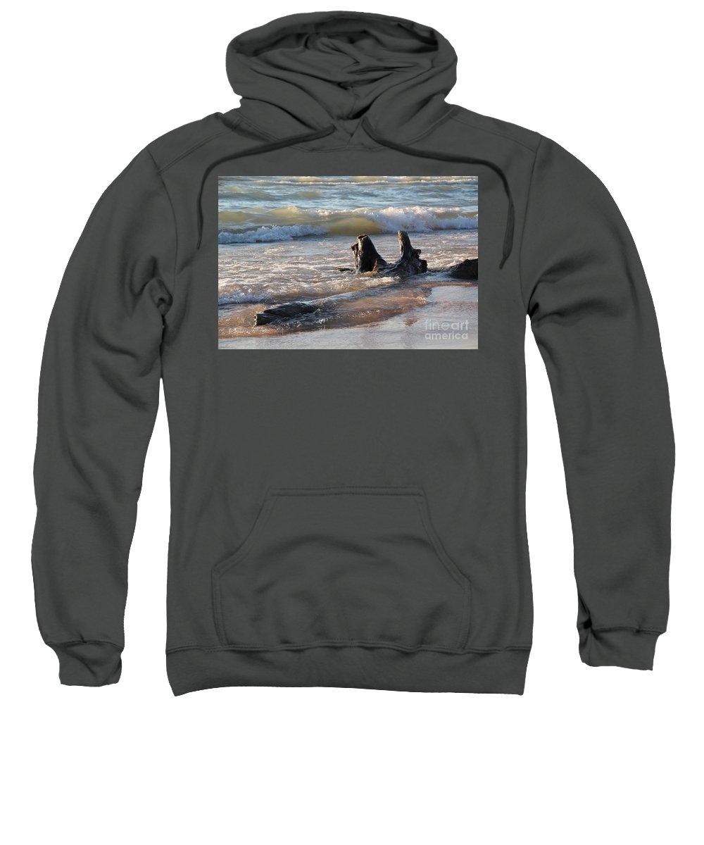 Beach Sweatshirt featuring the photograph Waves Crashing by Lauren Mohr