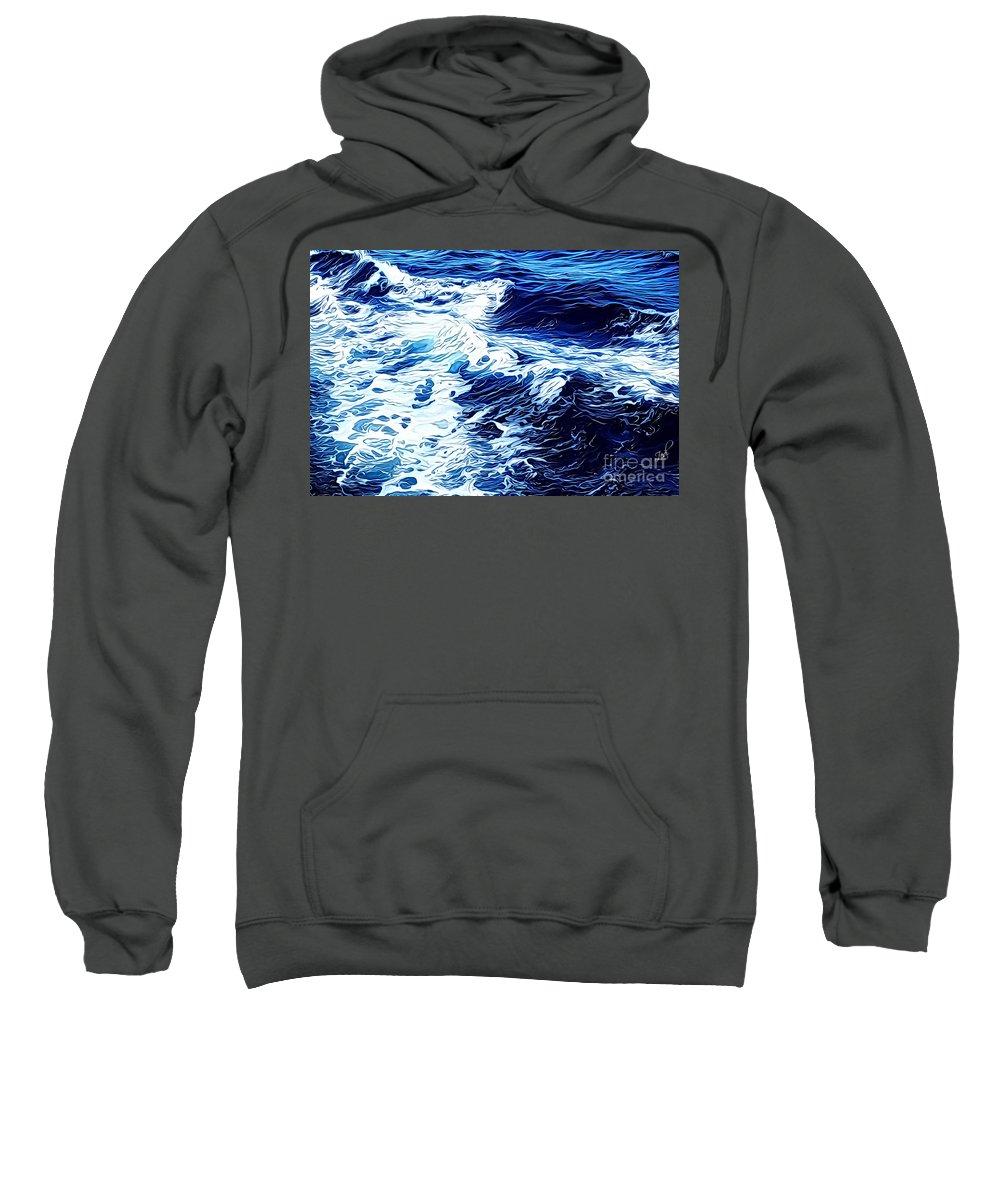 Wave Sweatshirt featuring the digital art Waves by Zedi