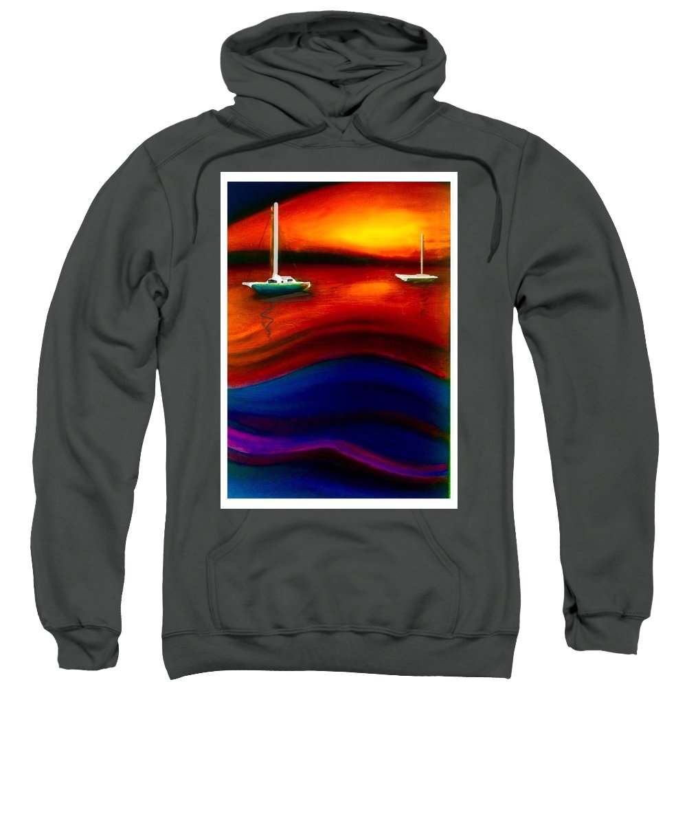 Abstract Sweatshirt featuring the painting Wavy Bay by Scott French