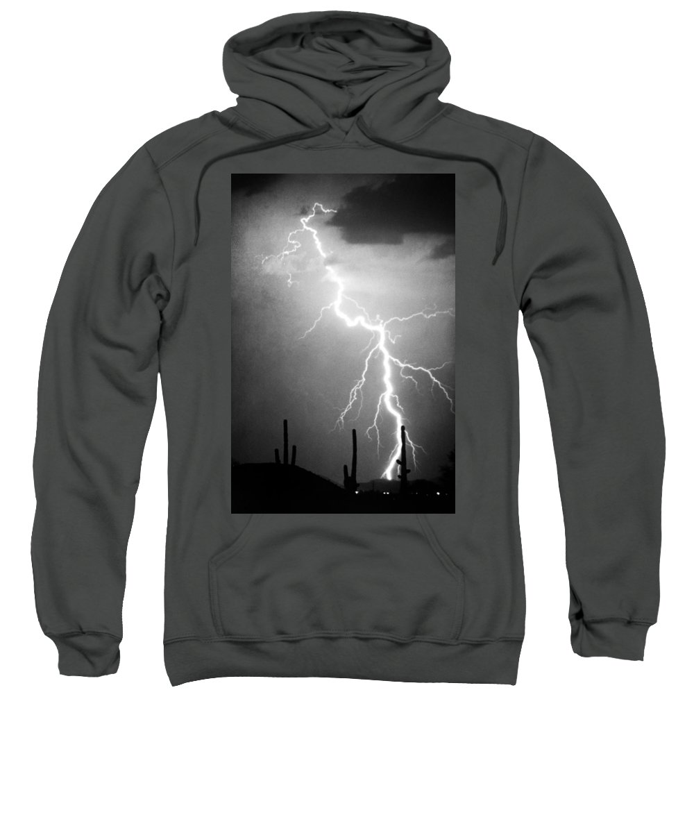 Lightning Sweatshirt featuring the photograph Way Too Close For Comfort Bw Print by James BO Insogna
