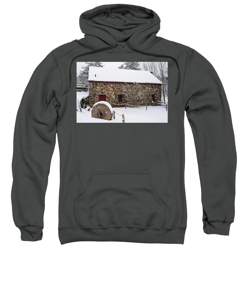 Wayside Sweatshirt featuring the photograph Wayside Inn Grist Mill Covered In Snow Millstone by Toby McGuire