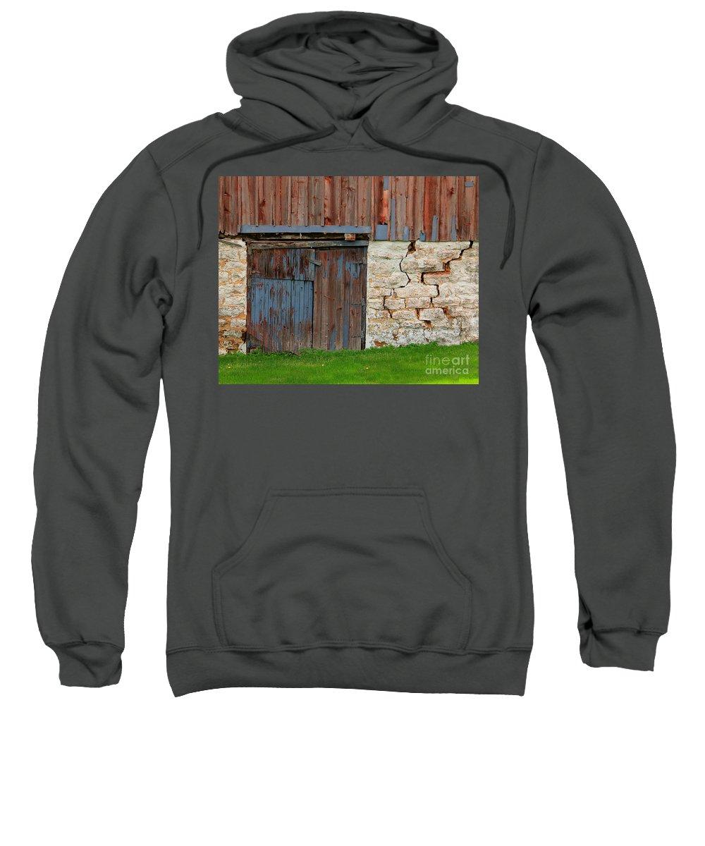 Door Sweatshirt featuring the photograph Weathered Barn Door by Perry Webster