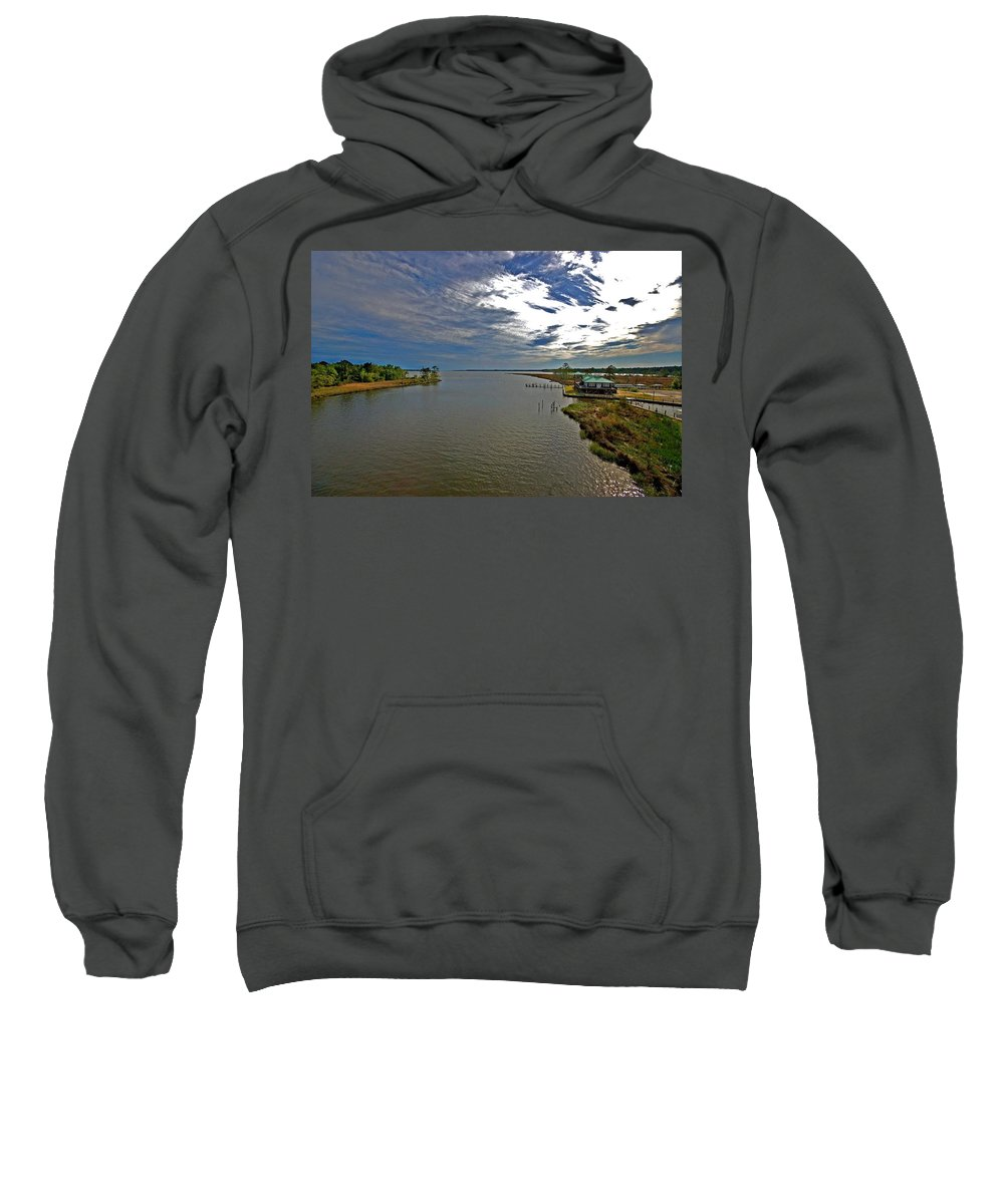Weeks Bay Sweatshirt featuring the painting Weeks Bay At Sunset by Michael Thomas