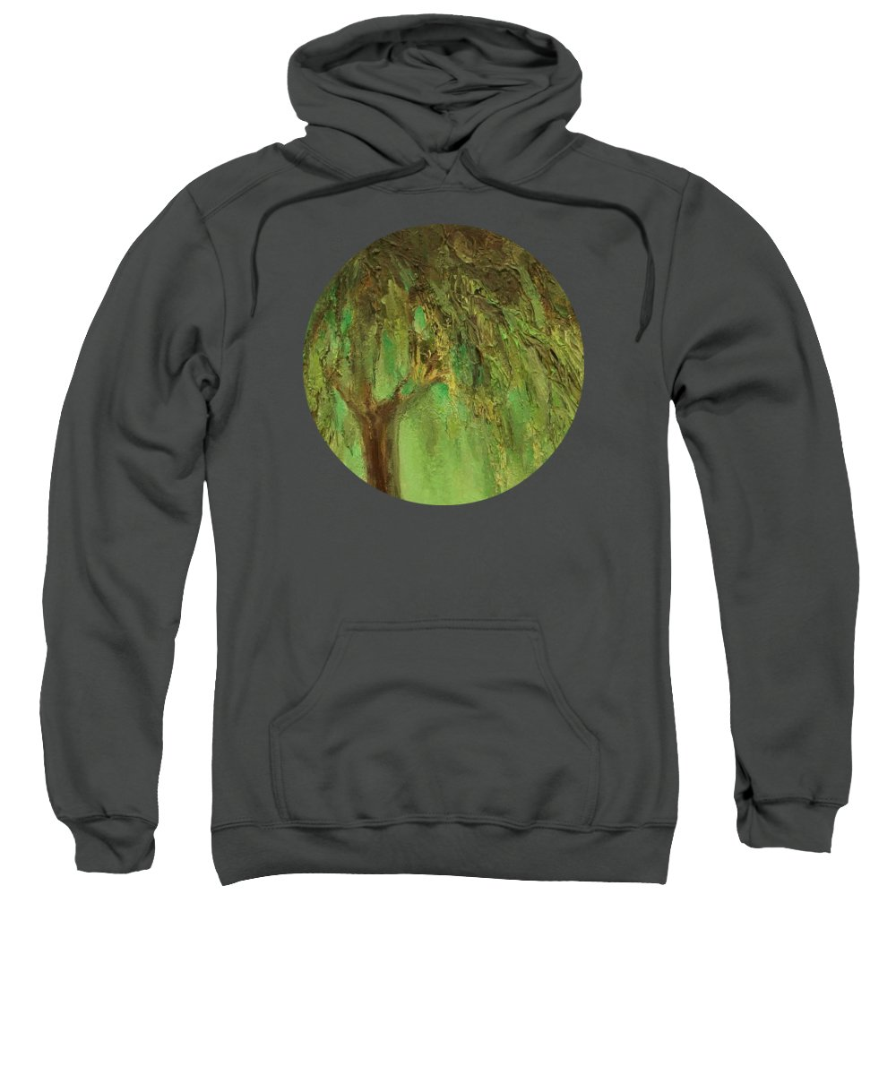 Landscape Sweatshirt featuring the painting Weeping Willow by Mary Wolf